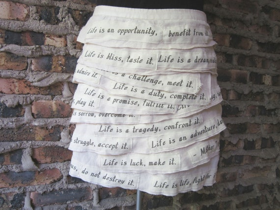 Mother Teresa Life Quote Linen Skirt - Size Large - Upcycled Wearable Art / Tiered Shabby Chic Bohemian Mini Skirt