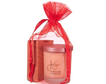 2-Piece Organic Soy Candle and Soap Gift Set in Organza Bag