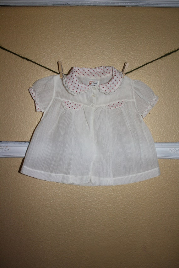 Vintage Baby Girl Sheer Shirt Peter Pan Collar