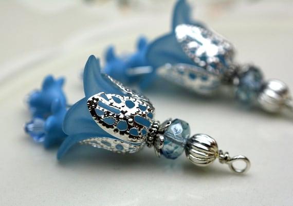 2 Piece Slate Blue Lucite Flower with Czech and Swarovski Crystal Bead Drop Dangle Set