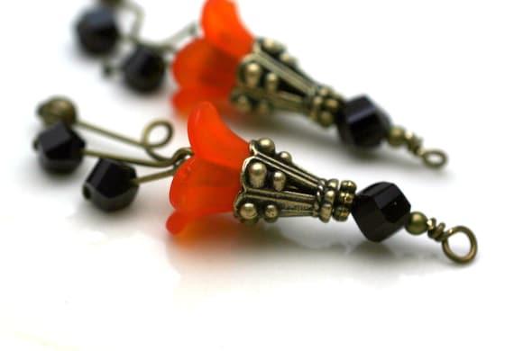 Vintage Style Orange Lucite Flower and Black Crystal Bead Dangle Charm Drop Set - 2 Pieces Halloween