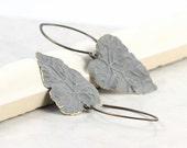 Gray Leaf Earrings Rustic Woodland Boho Jewelry Brass Patina Handmade Copper Ear Wires Mothers Day Jewelry