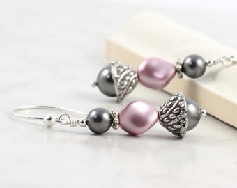 Rose Pearl Prom Earrings Dusty Mauve Pink Smoke Gray Bridal Jewelry Wedding Fashion Mothers Day Jewelry