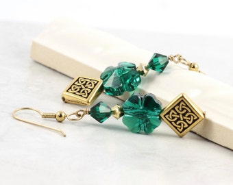 Emerald Celtic Knot Earrings Gold Green Shamrock Irish Jewelry St Patricks Day Gold Jewelry Four Leaf Clover Eire Gift for Her Under 30