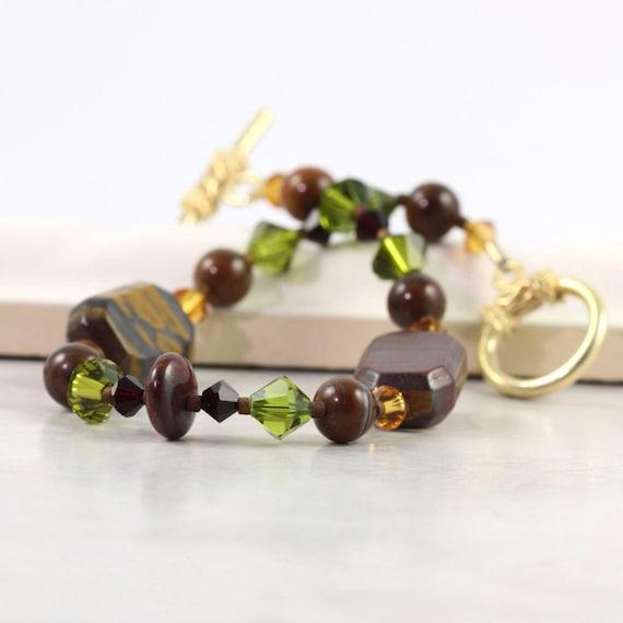 Tiger Iron Bracelet Topaz Amethyst Olive Crystal Gemstone Vermeil Toggle Clasp