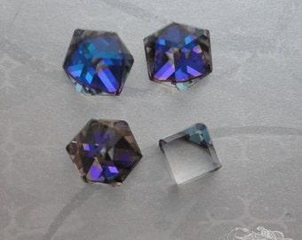 4 Swarovski Cube Stones - Art 4841 - Heliotrope Z - 8mm
