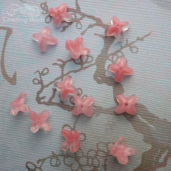 12 Vintage Japanese Tulip Beads - 9mm Rose Pink Givre