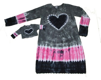 Matching Girl and Doll Tie Dye Dress and Shirt Set in Grey, Black and Hot  Pink with a Black Heart- Fits 18 and 15 Inch Dolls