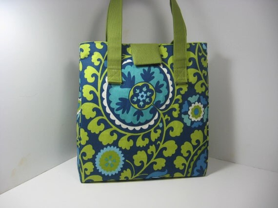 Insulated Lunch Bag Purse - Blues and Greens