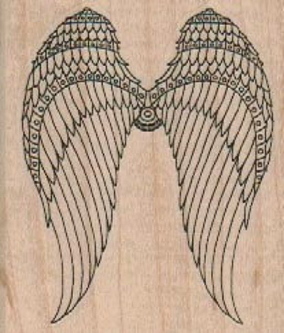 steampunk rubber stamp angel wing wings wood mounted number 18658