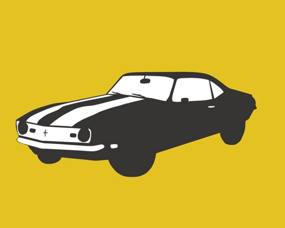 Chevy Camaro art, yellow and gray print - SALE