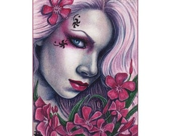 Oleander Limited Edition ACEO Print Gothic Flower Artist Trading Cards ATC Fantasy Art Pink Flowers Portrait -- Pretty Poisons Series