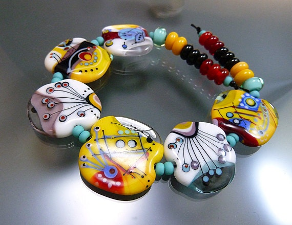 "Melanie Moertel Lampwork Beads - Handmade glass bead set of 6 plus 18 spacers - ""All The Festivals I Never Went To"""