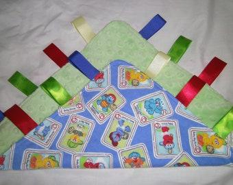 Baby Elmo Tag Blanket, Sesame Street, Handmade, Sensory Blanket, Lovey, Minky, Toy,Teething, Ready to Ship, Baby Shower gift