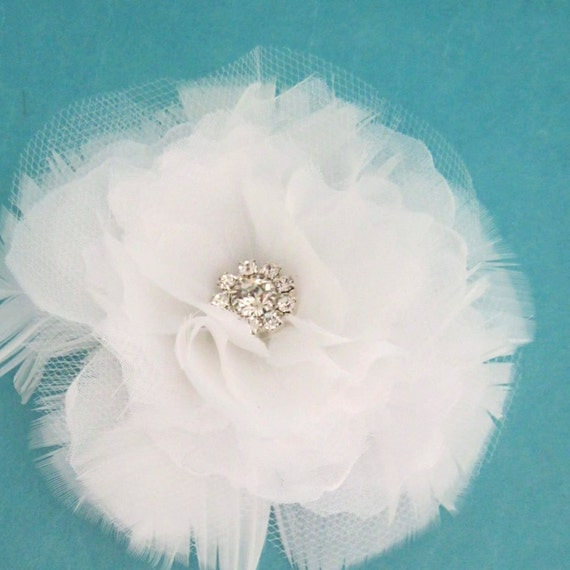 Bridal Hair flower, 4 inch White Organza and Tulle Feather Rose Hair Clip H194 - bridal hair accessory