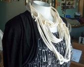 Creamy yellow t-shirt scarf infinity scarf women fabric necklace eco-friendly