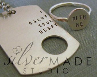 i carry your heart  dog tag and sterling silver ring. Intertwine