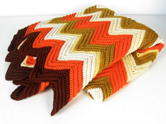 vintage chevron crochet afghan blanket - autumn colors - orange brown ivory mustard - 1970s