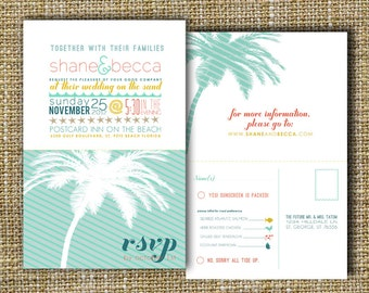 beach wedding invitation, beach destination wedding invitation, palm tree wedding invitation, perforated rsvp postcard - down by the sea.