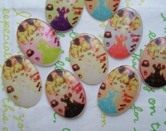 Plastic Girl oval cameo 6pcs  (25mm X 18mm)