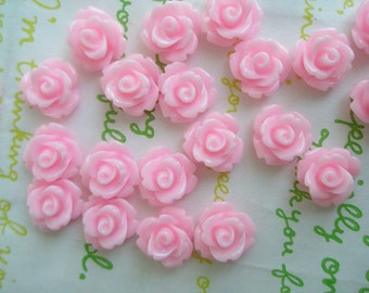 Tiny rose cabochons 10pcs PD 003 10mm Pink