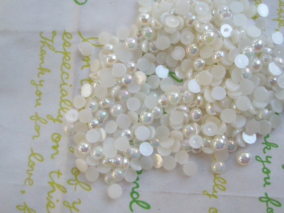 AB  Tiny Pearlized Round plastic rhinestones cabochons 4mm 4 grams   Ivory