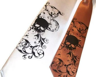 Father & Son Skull necktie set, Mens tie and Boys tie - Mix or match colors print to order