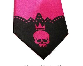 Skull tip necktie narrow 3 inch wide fuchsia tie
