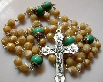 Sterling 925 Silver Six Turquoise Father Beads & Tridacninae ROSARY  CROSS Bag
