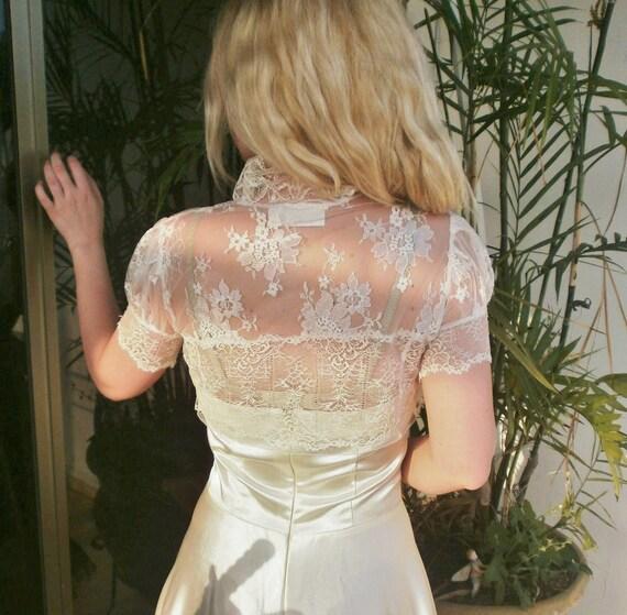 ivory VENETIAN ROYAL bridal bolero jacket ivory wedding shrug ivory lace bolero French lace bolero