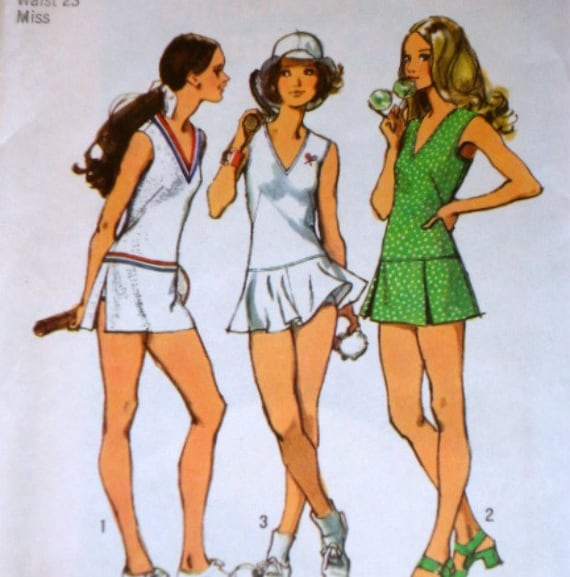 Vintage 1970's Simplicity 9920 Sewing Pattern Tennis Dress With Three Skirts And Bloomers Size 8 Bust 31 1/2 Factory Folded