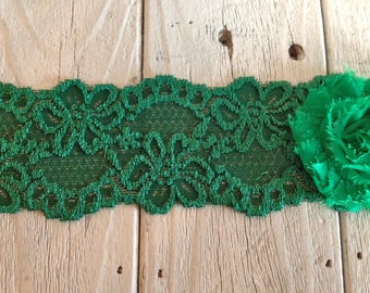 WIDE Stretch Lace EMERALD GREEN-2 1/2 inch -2 yards for 2.99
