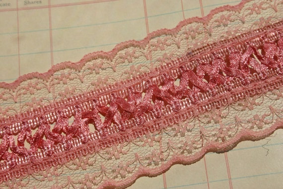 Wide Pink Braid Trim -  Sewing Lace Ribbon - 1 3/4 Yards - LAST OF SPOOL