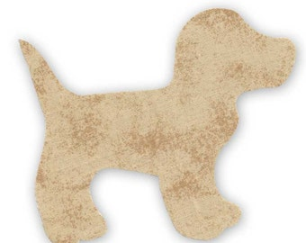 Beige Dog Fusible Fabric Appliques Cotton Quilting Sewing Collage Die Cut