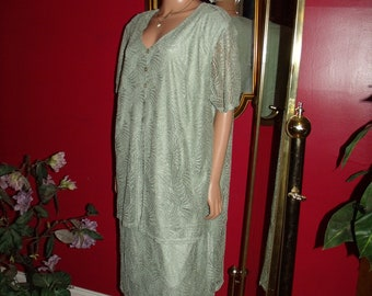 Vintage  Flapper Dress Lace Floral does T Ford 20-30 style Size 24