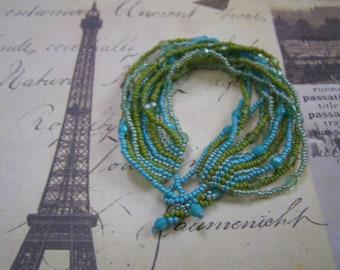 Mermaid Tale Handmade Beaded Multi Strand OOAK Bracelet