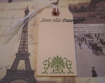 Save this Date Flourish in Fern handmade Wedding Tag - Wish Tree - Gift-Tag set of 6 French Shabby Chic Style