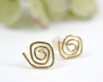 14k gold filled spiral post earrings swirl spiral stud earrings copper hammered square spirals simple minimalist flat nature design earrings