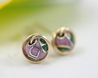 Lavender cloisonne post earrings 14k gold filled medium size earrings wire wrapped flower motif earrings enamelled mauve stud earrings 7mm