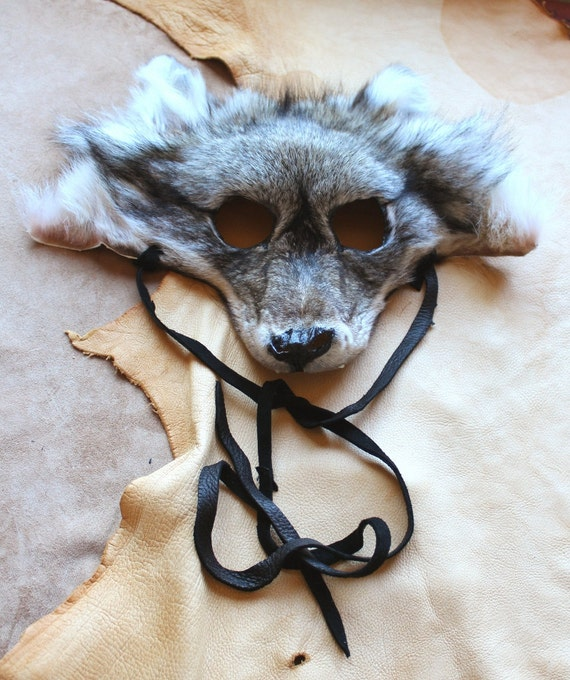 RESERVED - Real eco-friendly gray wolf fur totem mask with fangs headdress for shamanic ritual, costume, totemic dance and more