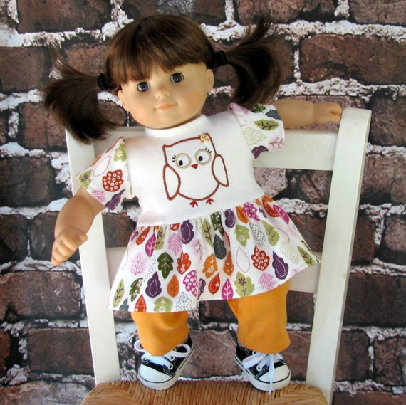 American Girl Bitty Baby Twin Fall Forest Owl top and pants, reconstructed Gymboree