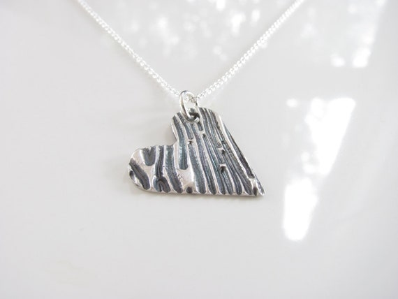Heart  Necklace - Hand Made from Fine Silver - Ready to Ship