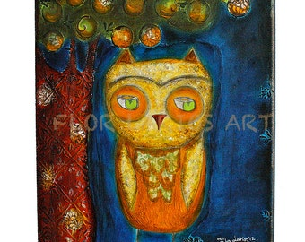 Lord of the Eyebrows - Owl -  Print from Painting by FLOR LARIOS (6 x 8 INCHES)
