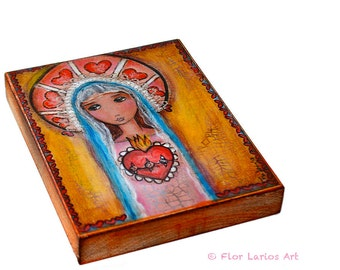 Mary and Her Sacred Heart - Giclee print mounted on Wood (6 x 8 inches) Folk Art  by FLOR LARIOS