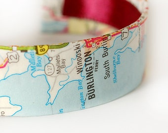 Burlington Map Bracelet, Vermont, Green Mountain State, Cuff Bracelet, Ready to Ship