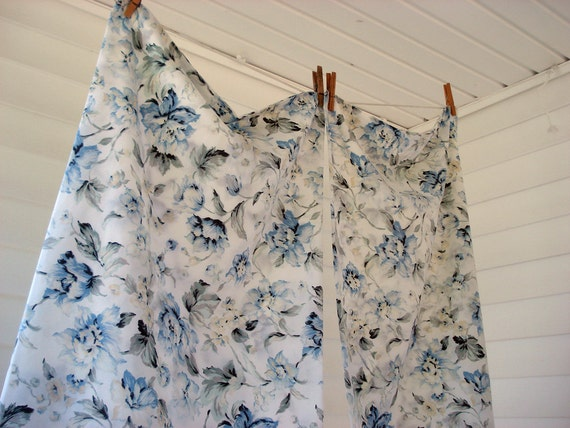 Pair of blue floral pillowcases