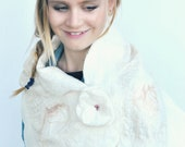 Silk gauze wrap felted with Australian merino wool in natural cream hues with its cream flower felt brooch