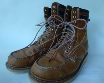 Vintage Work Boots Crepe Sole Leather