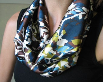 INFINITY SCARF - Satin - Cream  Flowers on Brown and Blue