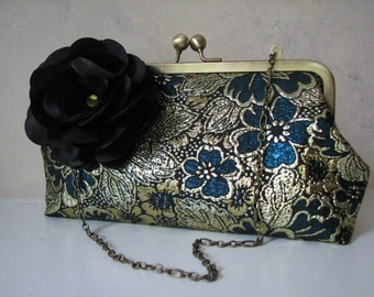 Handmade Teal and Gold Floral Clutch, Convertible with Chain Strap and flower clip
